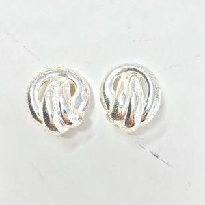 Signed Irwin Pearl Earring Silver Love knots NWOTS